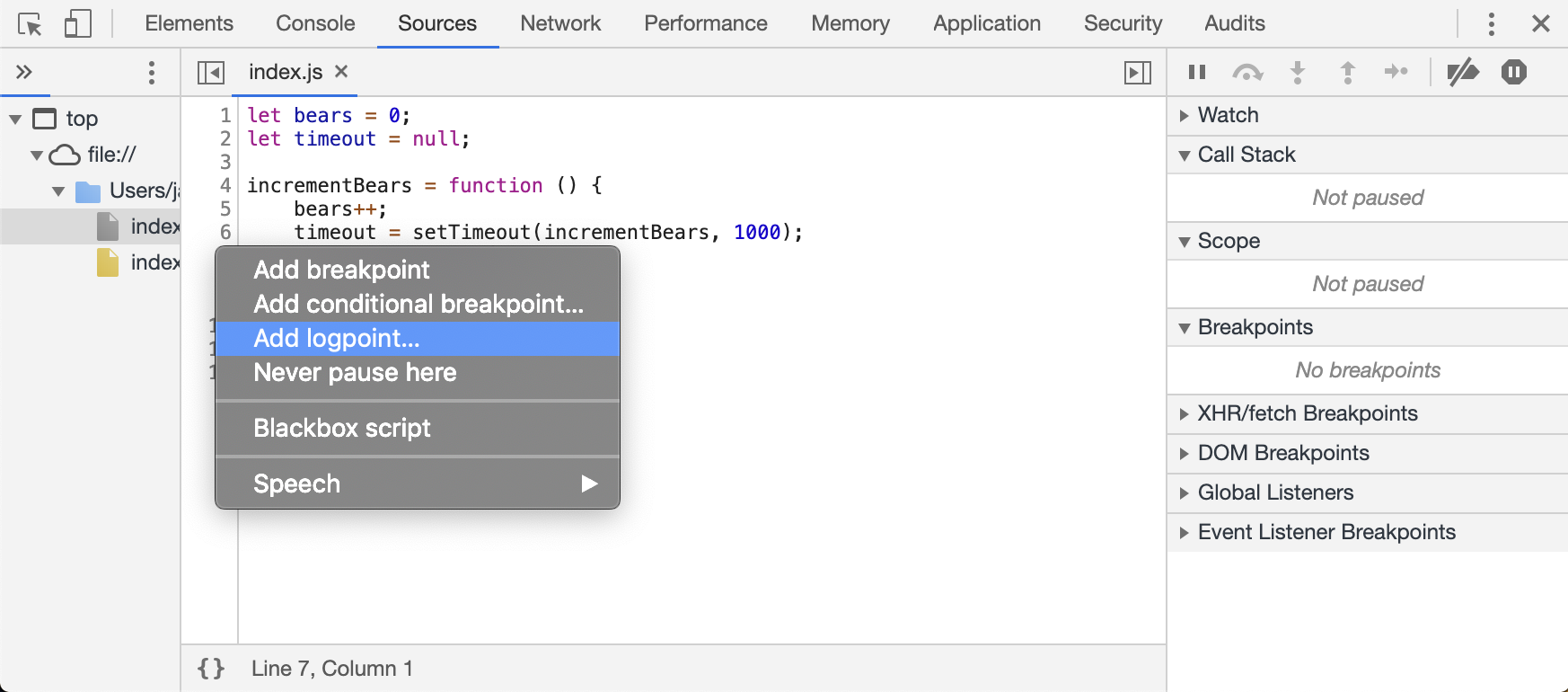 Chrome DevTools: using Logpoints for on-demand JavaScript debugging