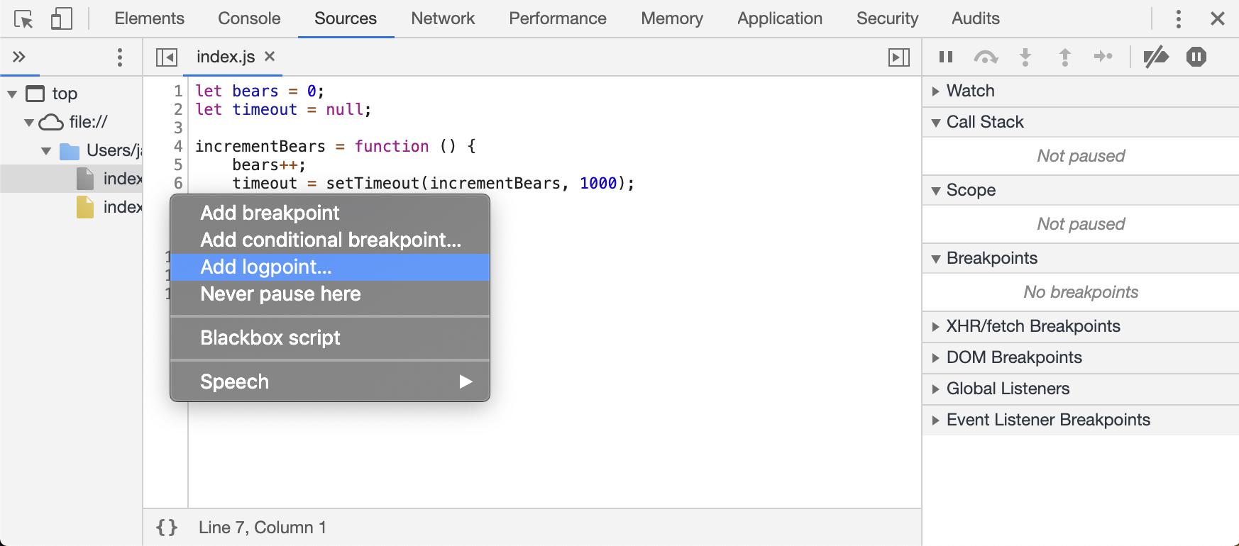 Chrome DevTools: using Logpoints for on-demand JavaScript
